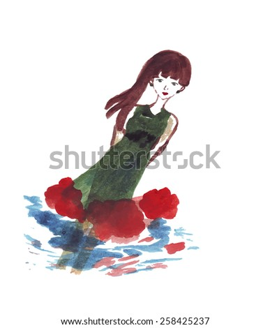 hand-drawn watercolor girl in the green dress surrounded by red flowers - vector - stock vector