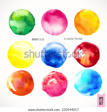 Hand drawn watercolor illustration. Background. Pink, yellow, violet & blue watercolor circles. Design. Watercolor vector background for retro design - stock vector