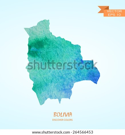 hand drawn watercolor map of Bolivia isolated. Vector version - stock vector
