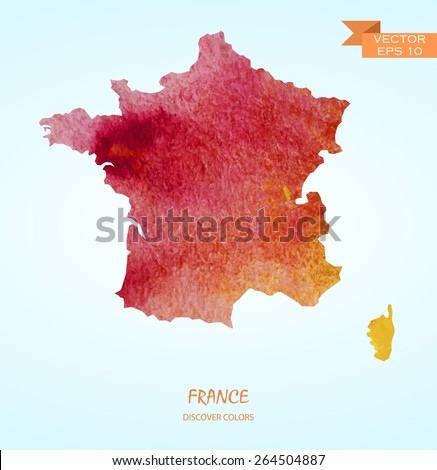 hand drawn watercolor map of France isolated. Vector version - stock vector