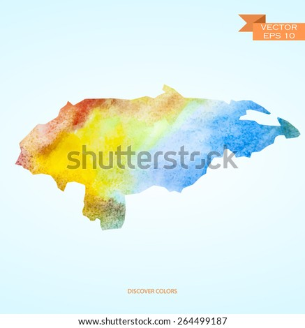 hand drawn watercolor map of Honduras isolated. Vector version - stock vector