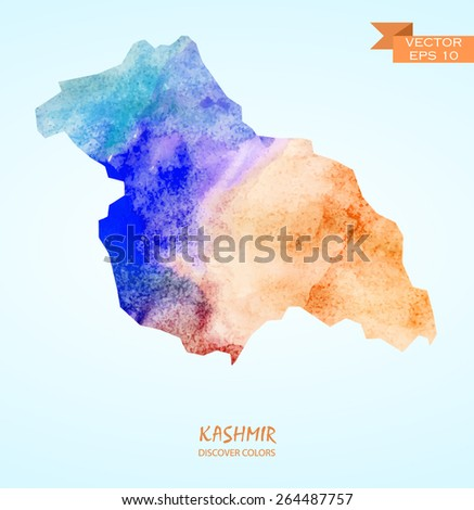 hand drawn watercolor map of Kashmir isolated. Vector version - stock vector