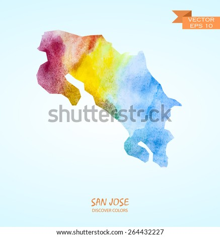hand drawn watercolor map of San Jose isolated. Vector version  - stock vector