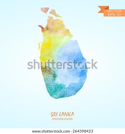 hand drawn watercolor map of Sri Lanka isolated. Vector version - stock vector
