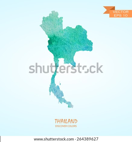 hand drawn watercolor map of Thailand isolated. Vector version - stock vector