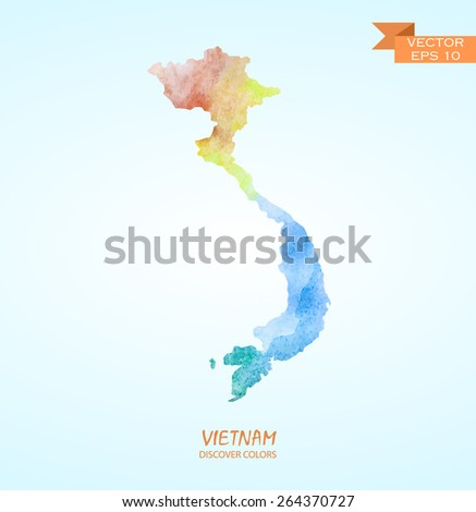 hand drawn watercolor map of Vietnam isolated. Vector version - stock vector