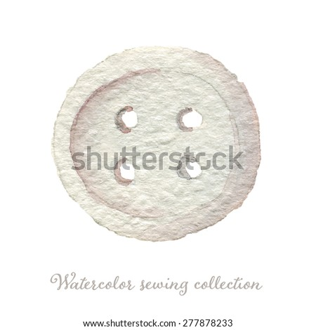 Hand drawn watercolor sewing button, grey. Eps10 - stock vector