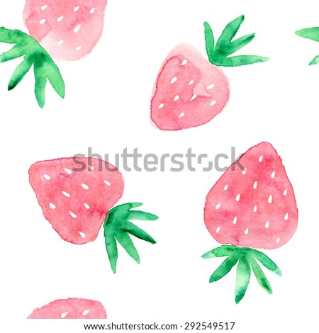 Hand drawn watercolor strawberry seamless pattern. Vector illustration. - stock vector