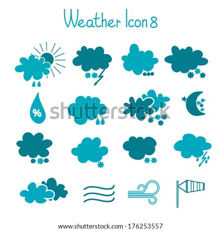Hand drawn weather icons set - stock vector