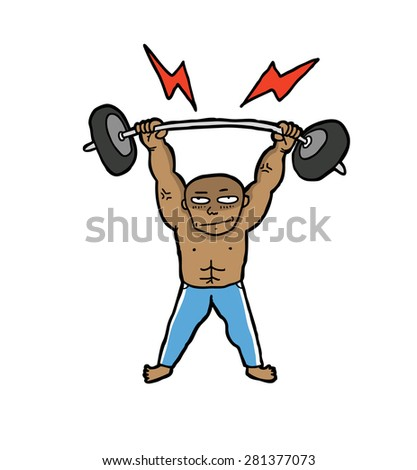 hand drawn weight lifter - stock vector