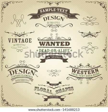 Hand Drawn Western Banners And Ribbons/ Illustration of a set of hand drawn western like sketched banners, ribbons, and far west design elements on vintage striped background - stock vector