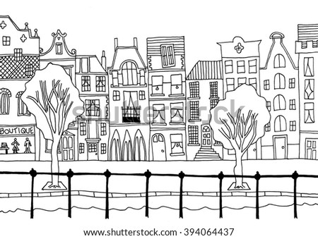 Hand drawn whimsical cartoon style hand drawn sketch illustration of houses and other buildings - stock vector