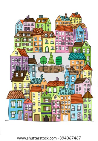 Hand drawn whimsical cartoon style hand drawn sketch illustration of village houses and other buildings - stock vector