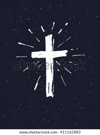 Hand drawn white grunge cross, simple Christian cross sign,  isolated on black background. - stock vector