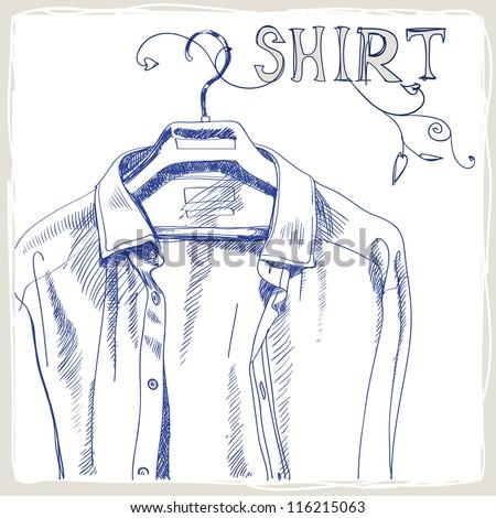 Hand-drawn white men's shirt - stock vector