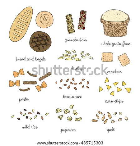 Hand drawn whole grain foods isolated on white background. Bread, bagel, pasta, popcorn, granola bars, crackers, rice, spelt, barley, flour, corn chips. - stock vector