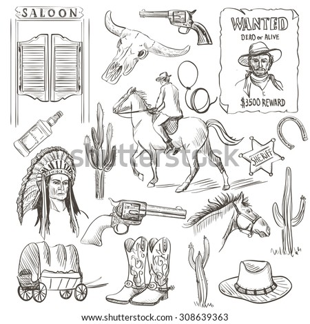 Hand drawn Wild West Collection with revolvers, skull, injun, cowboy, van, horse, cactus, hat, horseshoe, lasso, sheriff, shoes, horseman - stock vector