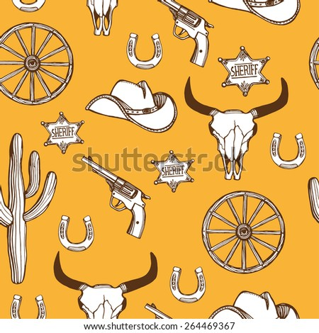 Hand drawn Wild West western seamless pattern. Cowboy hat, gun, sheriff star, horseshoe, cactus, wheel, cow scull.  - stock vector
