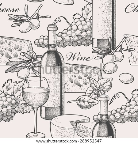Hand drawn wine and cheese seamless background  - stock vector