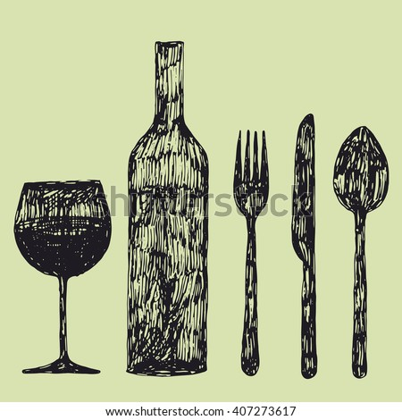 hand drawn wine bottle, wine glass, fork, knife and spoon set vector illustration - stock vector