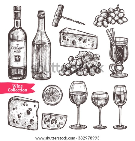 Hand Drawn Wine Set. Sketch Style - stock vector