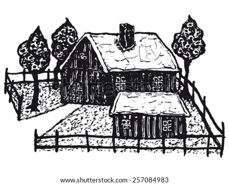 Hand drawn winter country chalet/ Illustration of a hand drawn winter country chalet house with fence and trees - stock vector