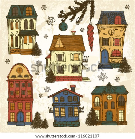 Hand drawn winter houses - stock vector