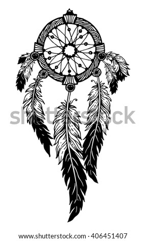 Hand-drawn with ink dream catcher with feathers. Ethnic illustration, tribal, American Indians traditional symbol. Isolated. On white background - stock vector