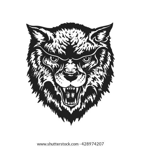Hand drawn wolf. Vector illustration - stock vector