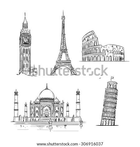 Hand drawn world landmark set. Vector Illustration - stock vector
