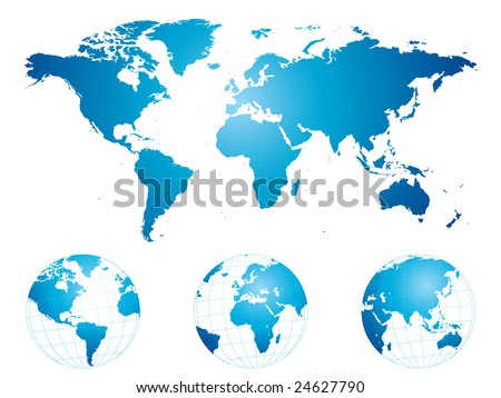 Hand drawn world map and globes (highly detailed) - stock vector