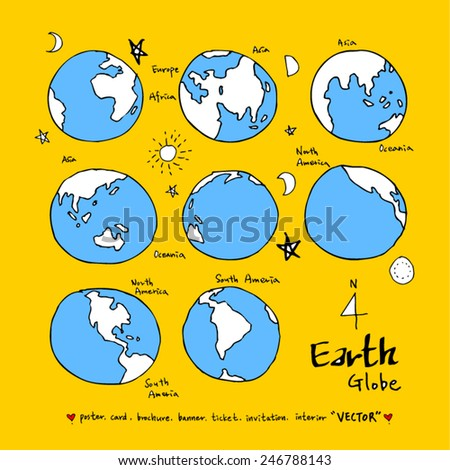 Hand drawn World Map /  vector - illustration - stock vector
