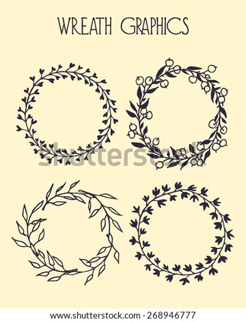 Hand drawn wreath set made in vector. Leaves and berries garlands. Romantic floral design elements. - stock vector