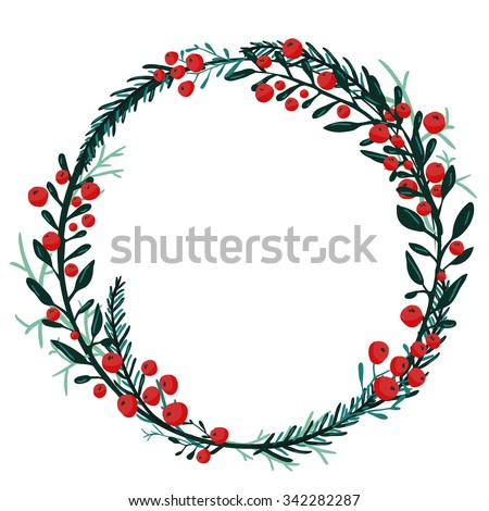 Hand drawn wreath with red berries and fir branches. Round frame for Christmas cards and winter design. Vector layout with copyspace - stock vector