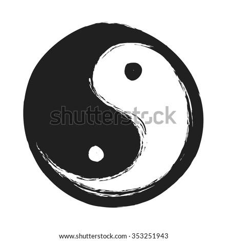 hand drawn ying yang symbol of harmony and balance,  vector design element - stock vector