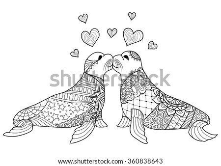 Hand drawn zentangle seals couple kissing for coloring book for adult, valentines and wedding card design element and other decorations - stock vector