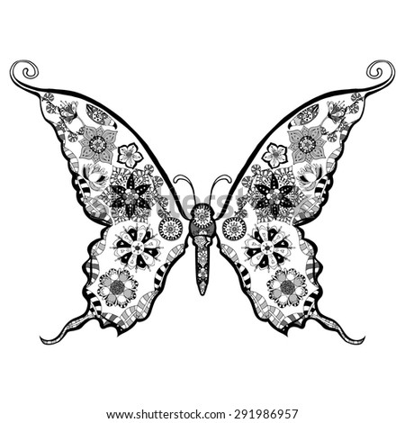 Hand drawn, zentangle stylized butterfly vector, illustration - stock vector