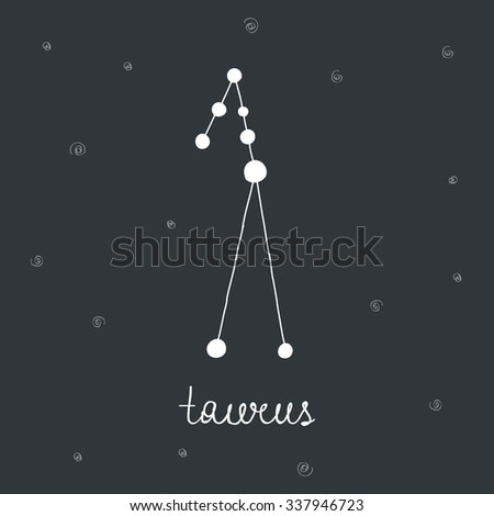 hand drawn zodiac constellation. taurus. vector illustration - stock vector