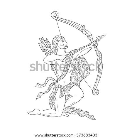 Hand-drawn zodiac Sagittarius with ethnic floral and geometric doodle pattern. Horoscope symbol. For tattoo art, coloring book. Coloring page - zentangle, design for relax, anti-stress, vector  - stock vector
