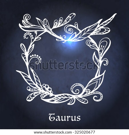Hand drawn Zodiac sign Aries by flower pattern in vintage style. - stock vector
