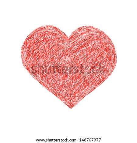 hand draws heart - stock vector