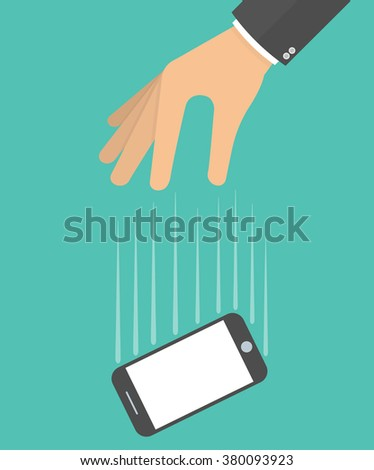 Hand dropping mobile phone concept. Hand with falling smartphone - stock vector