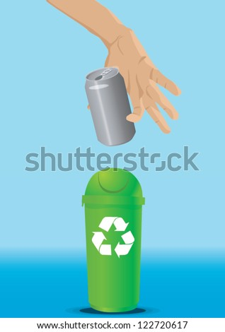 Hand dropping some can  in a trash can. Digital illustration. - stock vector
