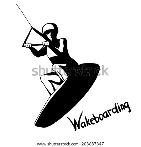 Hand drown wakeboarder on isolated background - stock vector