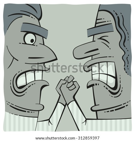 Hand fight of two angry men - stock vector