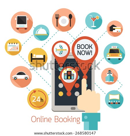 Hand Finger Touch Tablet Online Booking Icons, Hotel,  Transportation, Services  - stock vector