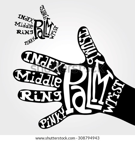 hand fingers names with hand drawn letters - stock vector