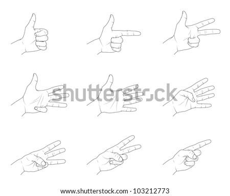 Hand Gestures. - stock vector