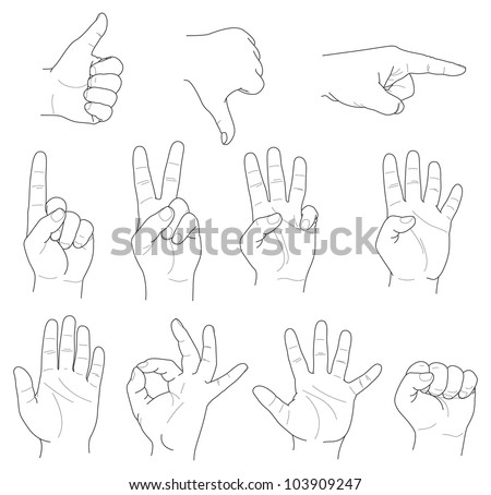hand gestures and numbers - stock vector
