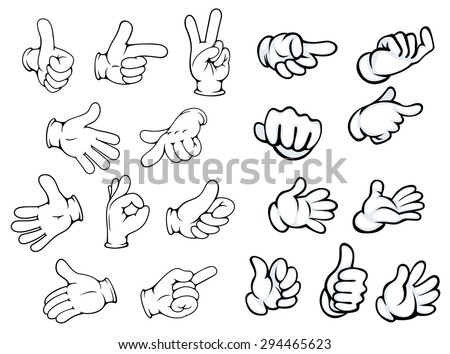 Hand gestures and pointers in comics cartoon style for advertisment or communication design, isolated on white - stock vector